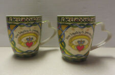 IRISH WEAVE CLARA BONE CHINA CLADDAGH RING  MUG - set of two