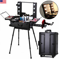 Professional Makeup Case Light Station Large Portable Dressing Table Folding Leg