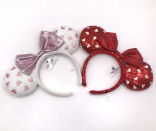 2pcs Disney Parks 2020 Minnie Ears Red White Heart Bow Disney Resort Headband