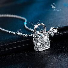 18k white gold gp made with SWAROVSKI crystal secret lock key pendant necklace