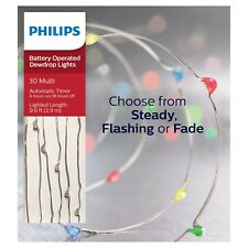 Philips 30ct Christmas Battery Operated LED 4 Function Dewdrop Lights Multicolor