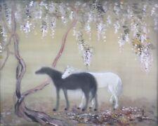 Shunko DESHIMA(XX) Paysage aux chevaux,proche Foujita Japon Chine LANG Shih-Ning