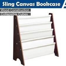 Wood Sling Canvas Bookcase Bookshelf Magazine Book Display Kids Bedroom Storage