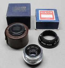 Nikon W-Nikkor C 3.5cm 35mm f/2.5 Rangefinder Lens + Hood & Boxes