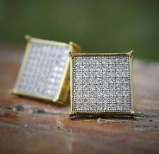 Men's Hip Hop Iced Out Large Flat Screen Gold Square  Screw Back Stud Earrings