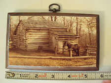 Vintage Folk Art Picture Gail Scheller Wood Plaque Cabin Horse Man Cave Hanger
