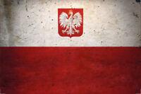 Polonia Poland Bandera Letrero de Metal Arqueado Cartel Lata 20 X 30CM