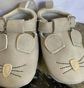 New Adorable Baby Soft Shoes , Tan, Little Mouse, Size 4, (9- 12 Mo. Old)