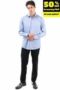PIERRE CARDIN Shirt Size 41 / L Striped Round Hem Long Sleeve Regular Collar