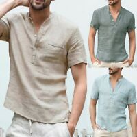 Mens Summer Linen Short SLeeve Blouse Henley V-Neck Casual Tops Solid T-shirt