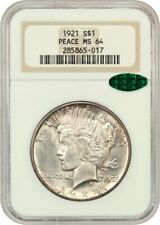 1921 Peace $1 NGC/CAC MS64 - Scarce First Year Issue - Peace Silver Dollar