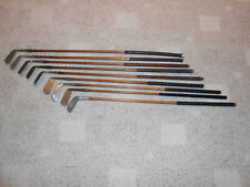 9 NICE OLD ANTIQUE WOOD SHAFT (HICKORY) GOLF CLUBS