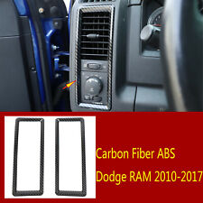 2×Carbon Fiber ABS Dashboard Side Air Condition Vent Trim For Dodge RAM2010-2017