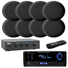 """5.25"""" 2-Way In-Ceiling Speakers & Selector W/ Pyle Home USB SD 300W Receiver"""