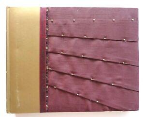 M S Photo Album Maroon Pleated Silk Cover 24 Interleaved Pages Unused