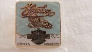 """Freedom"" Harley Davidson Motor Cycles Square Pin Denver Colorado"
