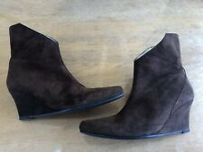 STEPHANE KELIAN PARIS BROWN SEXY SUEDE WEDGE ANKLE BOOTS Size 5