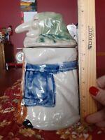 "Vintage RJ Drinkwater Baba Yaga Cookie Jar - Good Luck Kitchen Witch- 8"" Tall"