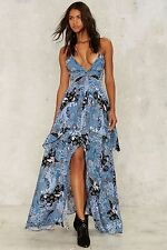 Nasty Gal Paisley With Your Life Maxi Dress Plunging Blue Print SIZE SMALL
