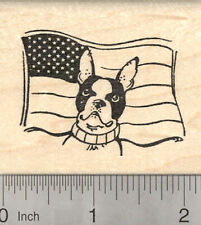 Boston Terrier Dog Rubber Stamp, 4th of July, American Flag H24905 Wm