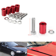 4 Pcs Car Auto Hood Risers Red Hood Vent Spacers Kit for 8mm Bolt Turbo Engine