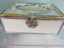 Stained Glass Sentiment Box I Love You Dad Metal Fob Yellow Glass Metal New