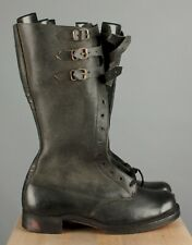 Vtg Men's Nos Post Wwii Belgian Army Tall Motorcycle Buckle Boots 9 42 7180s Ww2