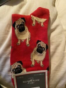 Socksmith Mens Crew Socks Red with Pugs Novelty Footwear New