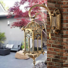 Antique Exterior Wall Light Fixture Aluminum Glass Lantern Outdoor Garden Lamp