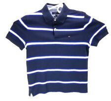 (6631) Tommy Hilfiger Polo Blue White Stripes Medium M Mesh Cotton Blend