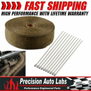 "2"" x 50ft Titanium Header Manifold Exhaust Turbo Intake Mesh Wrap Roll Tape"