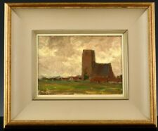 FINE c1920 JOHN W BEATTY CANADIAN ARCA OSA LARGE RED BARN OIL PAINTING ON BOARD