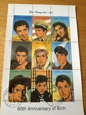 ELVIS PRESLEY 60TH BIRTHDAY ST THOMAS & PRINCE ISLANDS SHEET OF NINE STAMPS*MINT