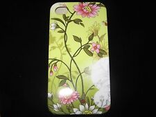 Flowers 2 Hard Cover Case 4 iPhone 4 4s Gen New Green Background Pink Case