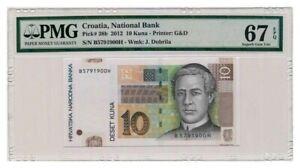 CROATIA banknote 10 KUNA 2012. PMG MS-67 EPQ
