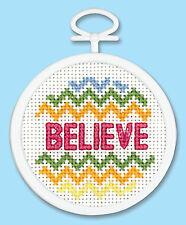 Cross Stitch Mini Kit ~ Janlynn Colorful Believe Word w/Frame #998-0024 SALE!