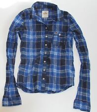 NWT! HOLLISTER by Abercrombie Womens Vintage Classic Plaid Shirt Blue S $49.50