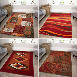 Contemporary Red Rugs Non Shed Cheap Orange Warm Living Room Rugs Budget Rugs UK