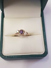 9ct Yellow Gold Amethyst and CZ Stone Ring