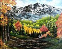 Original Signed Mountain Oil Painting Art Decor 16x20 Canvas Bob Ross Style