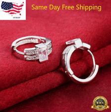 Womens 925 Sterling Silver Elegant Princess Cut AAA CZ Round Hoop Earrings #E39