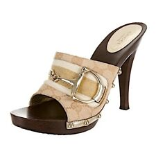 GUCCI sz 10.5, 41.5 Gold HorseBit Beige GG Wood Platform Heels Mules Shoes + Box
