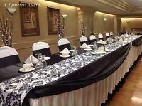 """5 Black & White 12"""" x 108"""" Flocking Damask Table Runner Flocked Velvet USA"""