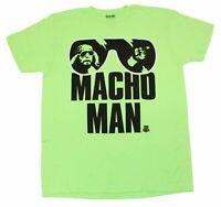 WWE Macho Man Randy Savage Neon Green Mens Retro Wrestlemania T-Shirt Tee New