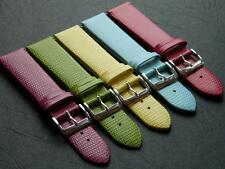Genuine Calf Leather Embossed Lizard Pattern Watch Strap Anti-allergic Buckle