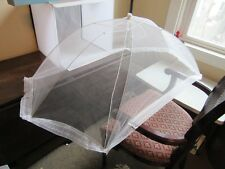 Birks Vintage picnic food cover net dome for table. White & lace