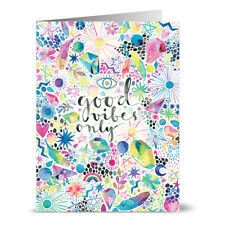 24 Note Cards - Good Vibes Only - Lilac Purple Envs