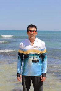 Adults Fishing Shirt Sun Safe UV Estuary White HOODIE