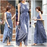 Women Floral Sleeveless Casual Boho Long Maxi Party Cocktail Beach Dress