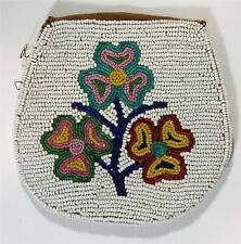 ca1900 Native American Plains / Blackfoot Indian Bead Decorated Hide Pouch / Bag